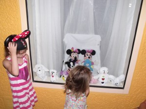 "The ""mousekeepers"" left towel animals and the girls stuffed animals setup in the window when we were away playing at the parks. The girls loved it!"